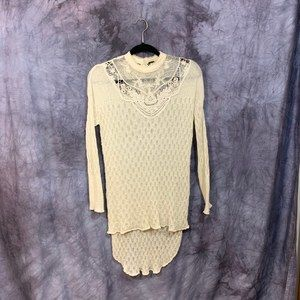 Free People White Lace Embroidered Sweater XS